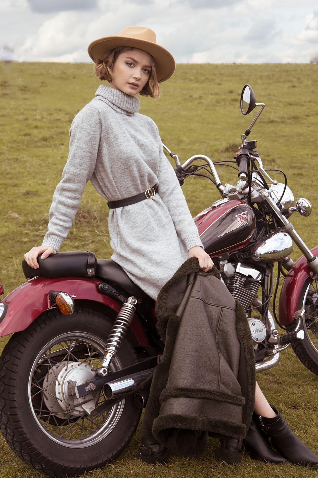Motorbike Fashion Photoshoot Modelled by Tyla Paton By Grace Delnevo Cotswold fashion Photographer