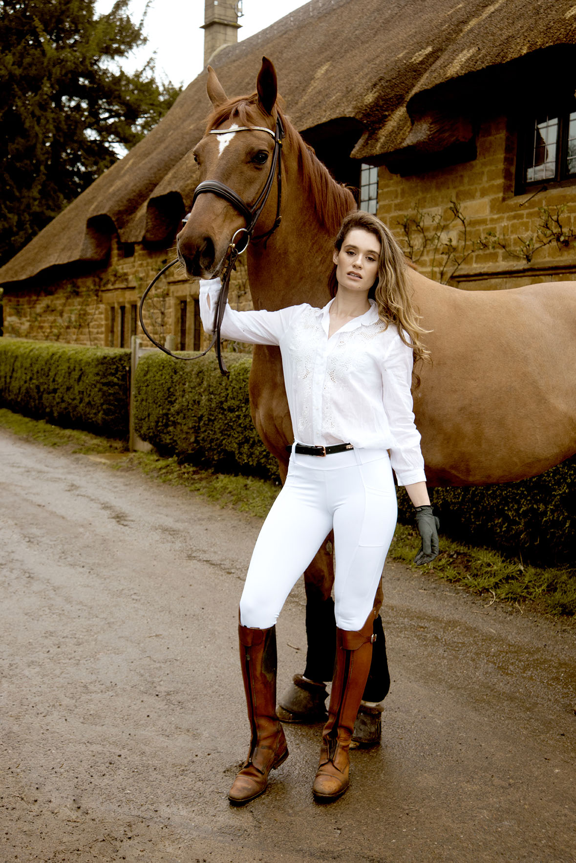 Cotswold Equestrian Fashion Photography With Horses Modelled by Laura Thyer by Grace Delnevo Cotswold Fashion Photographer For Luxe Equine