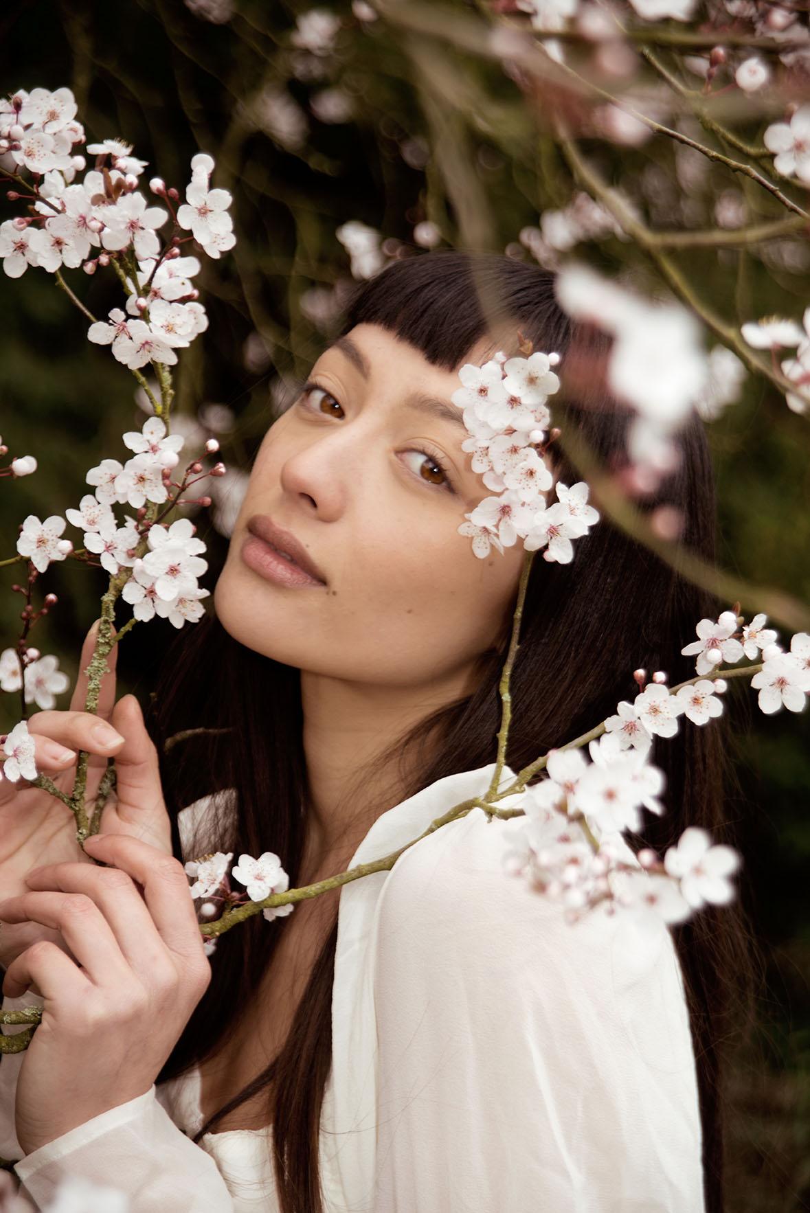 Fashion Flower Photoshoot Modelled by Mia Mokk By Grace Delnevo Cotswold fashion Photographer