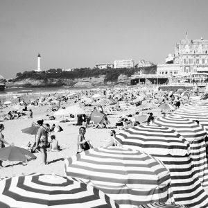 Biarritz Beach Tent Greetings Card